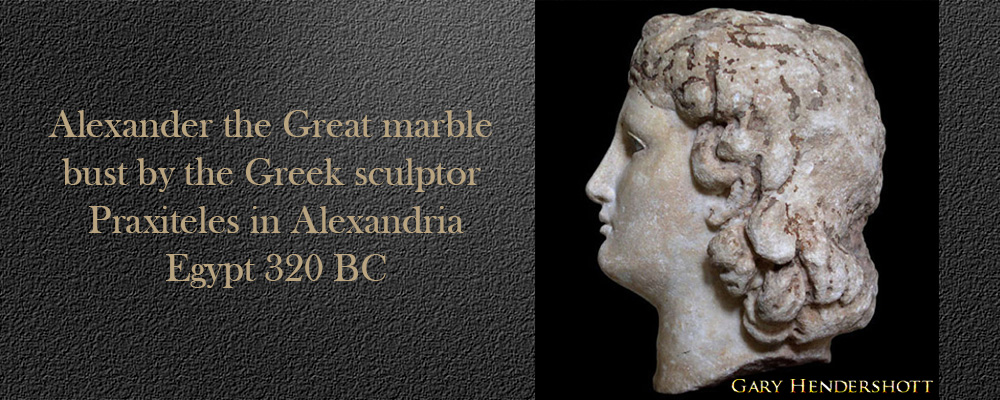 Alexander the Great marble bust, Greek sculpture Praxiteles in Alexandria, Egypt 320 BC