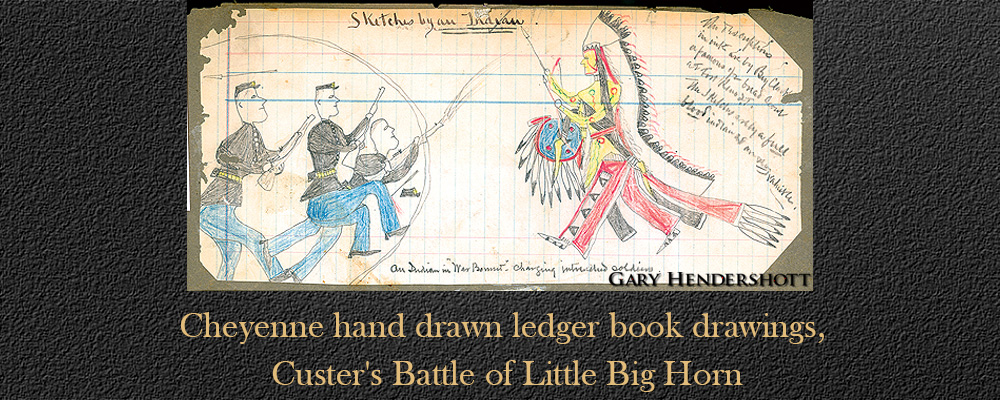 Cheyenne hand drawn ledger book drawings