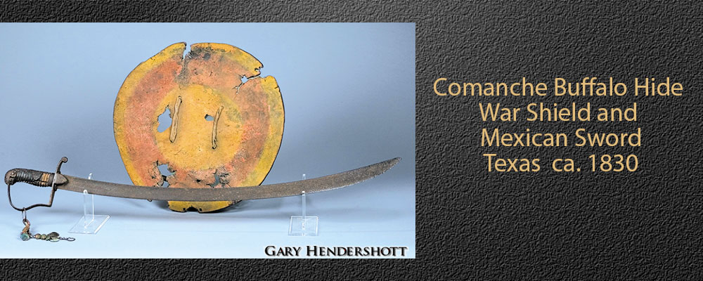 Comanche Buffalo Hide War Shield and Mexican Sword