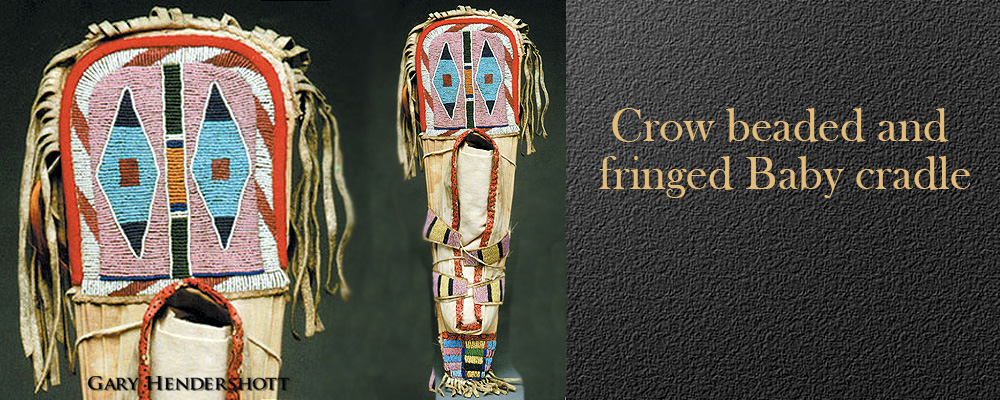 Crow beaded and fringed baby cradle