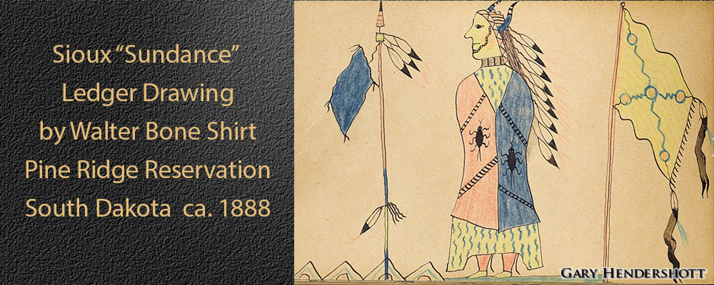 "Sioux ""Sundance"" Ledger Drawingby by Walter Bone Shirt"