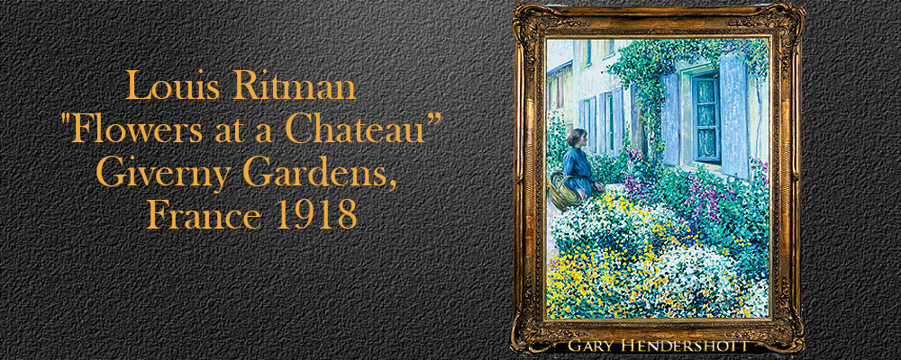 Flowers at a Chateau, Giverny Gardens, France 1918