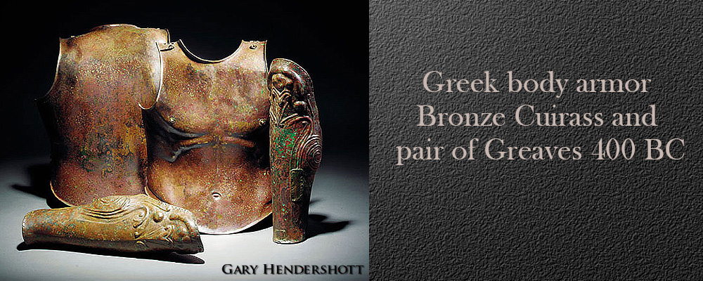 Greek bronze Cuirass and a pair of Greaves, 400 BC